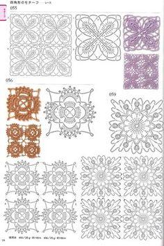 View album on Yandex. Crochet Quilt, Crochet Cross, Crochet Squares, Thread Crochet, Crochet Stitches, Crochet Edging Patterns, Crochet Diagram, Crochet Chart, Stitch Patterns