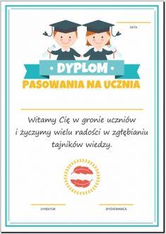 Dyplom pasowania na ucznia Preschool, Cards, Movies, Movie Posters, Films, Kid Garden, Film Poster, Cinema, Kindergarten