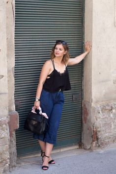 lingerie daywear, 1 country- 7 looks #lingerie #trend #outfit #mode #fashion #black #culotte
