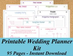 INSTANT DOWNLOAD Ultimate Printable Wedding Planner Kit - 95 pages on Etsy, $15.00