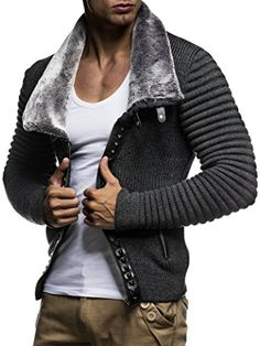 Leif Nelon Men's Cardigan with Stud Details and Zip Front Mode Masculine, Leif Nelson, Casual Wear For Men, Biker Style, Mens Fashion, Fashion Outfits, Knit Jacket, Gentleman Style, Mens Clothing Styles