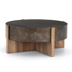 Modern Rustic Oak Round Drum Coffee Table | Furniture on Main