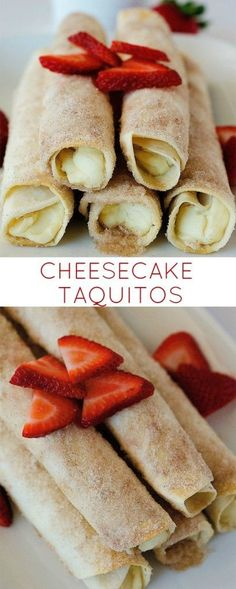 Dessert Taquitos filled with a cheesecake center and rolled in cinnamon and sugar! So so yummy!