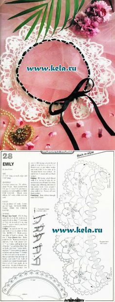 """Emily"", crochet lace collar with flowers motif, tied with velvet ribbon. Many, many more collars in this site."