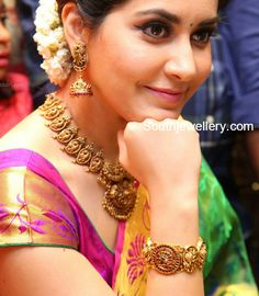 Raashi Khanna in Antique Gold Nakshi Jewellery