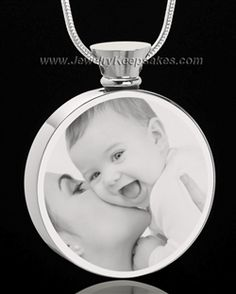 stainless steel round photo engraved cremation necklace jewelry