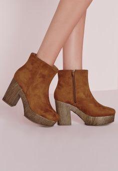 Platform Heeled Ankle Boots Tan