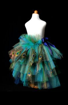 Peacock costume. Already have mine (pre-made costume), but I'm adding feathers to the skirt like this. Hope it turns out!