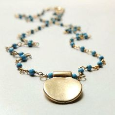 Ariana Necklace with Turquoise & Matte Gold Element