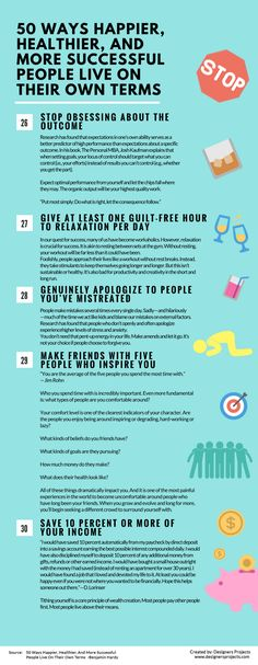 Infographics: 50 Ways Happier, Healthier, And More Successful People Live On…