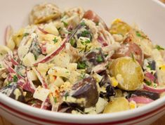 Try our collection of the best potato and pasta salad recipes, including classic macaroni salad, creamy potato salad and more from Cooking Channel. Potato Pasta, Potato Salad, Potato Tots, Pickled Salad Recipe, Grilling Recipes, Cooking Recipes, Picnic Side Dishes, Classic Macaroni Salad, Le Chef