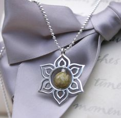 Sterling Silver Lotus pendant with Sterling 18 chain by Maravillosa Jewelry.