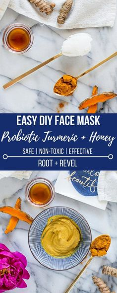 This easy, DIY Probiotic Turmeric Honey Face Mask is an all-natural + effective treatment for acne, anti-aging, dry skin, lightening dark spots + brightening skin tone. #FaceMasksAcne #SkinCareMasks Face Scrub Homemade, Homemade Face Masks, Diy Face Mask, Facemask Homemade, Turmeric Face Mask, Honey Face Mask, Aloe Vera, Mascarilla Diy, Turmeric And Honey