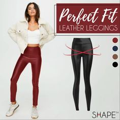 Perfect Fit Leather Leggings Leather Tights, S Curves, Faux Leather Fabric, Body Warmer, Body Size, City Style, All Fashion, Skinny Fit, Stretch Fabric