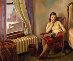 """""""Chicago Interior (1933-34).J. Theodore Johnson (1902-1963). Oil on canvas.    The warmth from the radiator is almost palpable in this painting, contrasting with the snowy city seen through the window. The distinctive blue-tiled tower of the American Furniture Mart identifies the setting. The artist portrayed his wife Barbara reading in their hotel room. The warm browns, yellows, and oranges raise the visual temperature, heightened further by hot touches of red."""""""