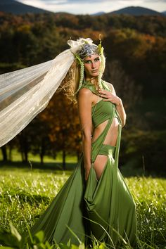 Meadow Deva Goddess Fairy Ensemble, Field Nymph Costume, Theatrical, Festival, Elven Cosplay, Dress, Bandeau Top, Neckpiece, Custom Fitted