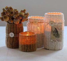 Candle holders made from recycled materials -- sock ribbing over jar, tealight inside. Very clever. Diy Candle Holders, Diy Candles, Candle Jars, Flameless Candles, Diy Projects To Try, Crafts To Make, Craft Projects, Diy Crafts, Pot Pourri