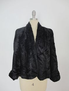 1940s 1950s Faux Fur Jacket / Black / Formal Evening Coat