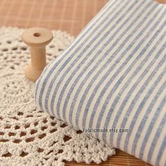 Linen Fabric Stripe/ Cotton Linen Blend Fabric/ by fabricmade