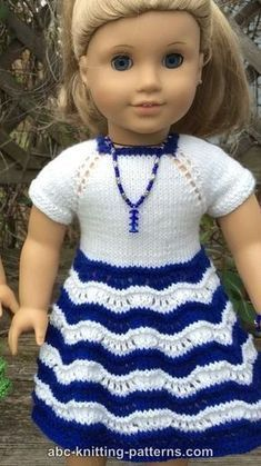 ABC Knitting Patterns - American Girl Doll Ocean Waves Summer Dress