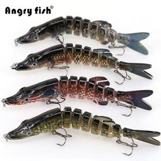 Angryfish 1Pcs Fishing Lure 13cm 29g 8 Segments Lure Bait with Artificial Hooks FREE Shipping  #bass
