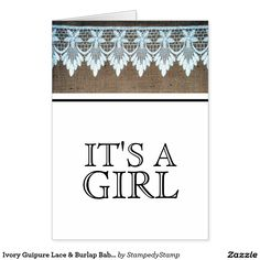 Ivory Guipure Lace & Burlap Baby Girl Announcement
