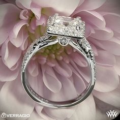 Verragio Square Halo Diamond Engagement Ring - ENG-0379 - Verragio Couture Collection. It  features 0.45ctw of Round Brilliant Diamond Melee (F/G VS) that enhance the princess, radiant or a square diamond center of your choice. The width tapers from 5.3mm at the top down to 2.5mm at the bottom.