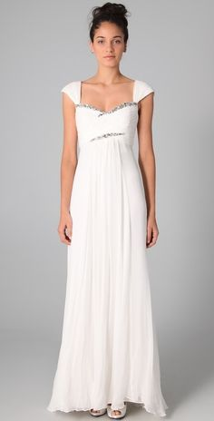 Marchesa Notte Empire Gown with Rhinestones thestylecure.com