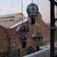Steampunk style hot air ballon from old light bulbs