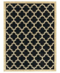 """Shaw Living Area Rug, American Abstracts 01500 Milazzo Black 1'8"""" x 6' Runner Rug - RUG SALE - Rugs - Macy's"""
