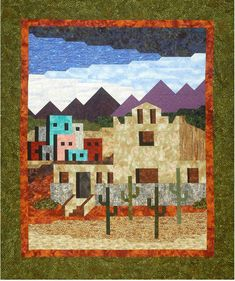 Southwest Mission Quilt Pattern (advanced beginner, lap and throw) Lap Quilts, House Quilts, Quilting Tutorials, Quilting Designs, Southwestern Quilts, House Quilt Patterns, Indian Quilt, Landscape Quilts, Applique Quilts