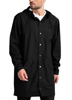Extra Off Coupon So Cheap JINIDU Men s Lightweight Waterproof Rain Jacket  Packable Hooded Long Raincoat bdd4dea3a