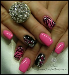 Luminous Nails: Hot Pink & Black Nails, with Zebra Print & Crystals. Pink Black Nails, Pink Gel, Pink Zebra Nails, Nail Black, Nail Pink, Ombre Nail, Black Ombre, Striped Nails, Black Polish