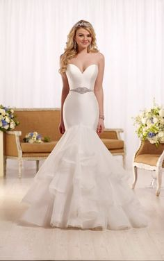 Essense Bridal Collection This designer fit and flare wedding gown with a sweetheart neckline from Essense of Australia embodies the essence of modern elegance. Sell My Wedding Dress, Pretty Wedding Dresses, 2016 Wedding Dresses, Fit And Flare Wedding Dress, Designer Wedding Dresses, Bridal Dresses, Wedding Gowns, 2017 Wedding, Modest Wedding