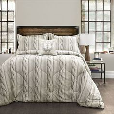 Gray Printed Cable Knit Four-Piece King Comforter Set - (In No Image Available)