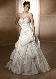 Gorgeous Satin Pin-tuck princess gown Mia Solano www.luvbridal.com