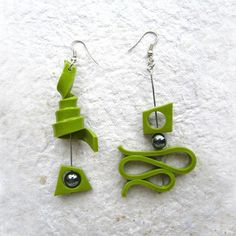 Green polymer clay earrings Boucles oreilles .....pendentif....
