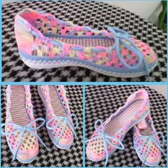 Zapato tejido en Crochet. Totalmente hecho a mano. Calzado para dama, cómodo y bonito. # artesanal#hechoamano#tejido#tallas#colores#paradama#hechoencolombia#artesanias#purocrochet#comodo#juvenil.