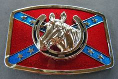 REBEL CONFEDERATE SOUTHERN SOUTH DIXIE FLAG HORSE HEAD BELT BUCKLE BUCKLES