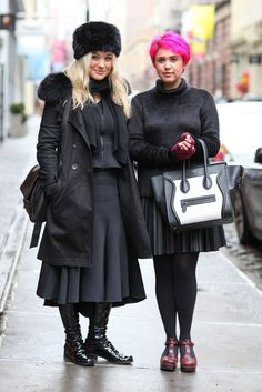 """13 Of New York's Most Stylish Twosomes #refinery29  http://www.refinery29.com/new-york-couples-street-style#slide-3  Who: Charlotte (left) and RubyWhat Charlotte's Wearing: Scanlan Theodore top, Ellery skirt, Comptoir des Cotonniers jacket, Stuart Weitzman shoes, Givenchy purse, and a vintage hat.What Ruby's Wearing: Zara skirt and top, and a Céline tote.How do you two know each other?Charlotte: """"We've been f..."""