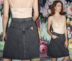 VTG 90s Guess Georges Marciano Black Denim Chemical Acid Wash Jean Skirt