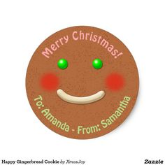 Happy Gingerbread Cookie Classic Round Sticker