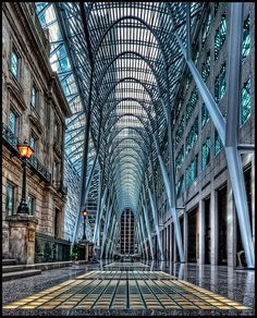 Toronto has lots of interesting modern buildings. Thanks to user rarch for identifying it: BCE place. On Bay St. just North of Front St. It's a foyer between 4 buildings. The Hockey Hall of fame is at the Eastern end. Santiago Calatrava, Vancouver, Modern Buildings, Beautiful Buildings, Beautiful Landscapes, Ontario, Toronto Architecture, Modern Architecture, Voyage Canada
