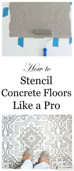 How to Stencil a Concrete Floor Like a Pro - The Crowned Goat How to Stencil a Concrete Floor Like a Pro – Our step by step guide on how to stencil concrete floors from start to finish and the pitfall to avoid. Stenciled Concrete Floor, Painted Concrete Floors, Stained Concrete, Concrete Patio, White Concrete, Tile Wood, Concrete Bedroom Floor, Wall Tile, Plywood Floors