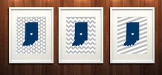Fun Butler University print with the official Bulldog colors and a heart on Indianapolis - Set of Three Giclée Print - Go Bulldogs!