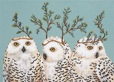 Melissa Shirley Designs | Hand Painted Needlepoint | Festive Owls