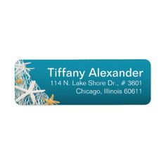 "These chic, beach ""Starfish Netting"" address labels feature beautiful starfish caught in fisherman's netting against an azure blue background. Comes in 6 colors: fuschia, azure blue, greyed jade, aqua, coral and sand. Click the CUSTOMIZE IT button to personalize with your own text. Many matching products available. SEE ENTIRE COLLECTION AT: glamprettyweddings.com. For questions/custom requests, email: cheryl@glamprettyweddings.com/contact. ""Starfish Netting"" original design by Cheryl Daniels…"