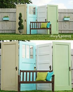 Weekend project idea: Repurpose old doors to make this one-of-a-kind privacy screen!