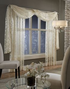 Softline Home Fashions Palazzo Scroll drapes with scarf valance – Hazir Site Living Room Drapes, Bedroom Drapes, Home Curtains, Living Room Decor, Bedroom Decor, Kitchen Curtains, Dining Room, Scarf Curtains, Window Scarf