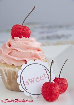 French Vanilla Cupcakes with Maraschino Swiss Meringue Buttercream | SweetRevelations